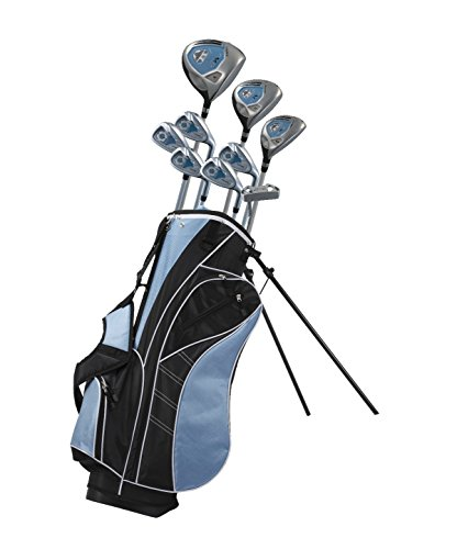 Precise-AMG-Ladies-Womens-Complete-Right-Handed-Golf-Clubs-Set-Includes-Titanium-Driver-SS-Fairway-SS-Hybrid-SS-6-PW-Irons-Putter-Stand-Bag-3-HCs-Blue-Petite-Size-for-53-and-Below-0