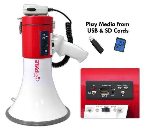 Pyle-PMP57LIA-Megaphone-Bullhorn-Built-in-Rechargeable-Battery-USB-FlashSD-Memory-Card-Readers-Aux-35mm-Input-Siren-Mode-0-0