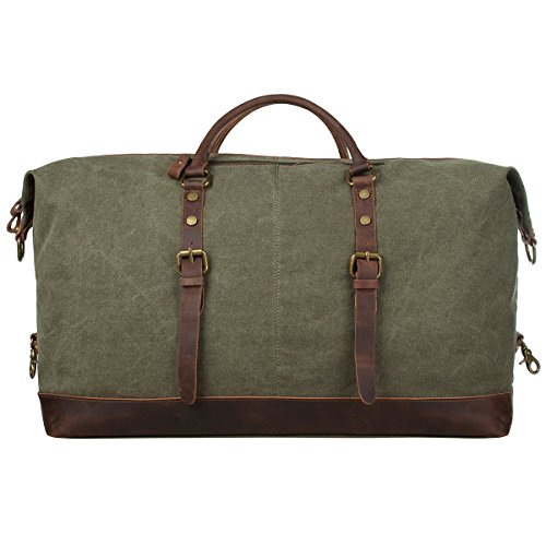 S-ZONE-Oversized-Canvas-Leather-Trim-Travel-Tote-Duffel-shoulder-handbag-Weekend-Bag-Upgraded-Version-0-0