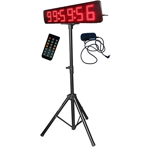 Single-Sided-Red-Color-LED-Race-Timing-Clock-with-Tripod-5-High-Character-for-Semi-Outdoor-Outdoor-Running-Events-IR-Remote-Control-0