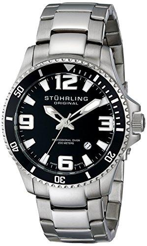 Stuhrling-Original-Mens-39533B11-Aquadiver-Regatta-Analog-Swiss-Quartz-Stainless-Steel-Link-Bracelet-Watch-0