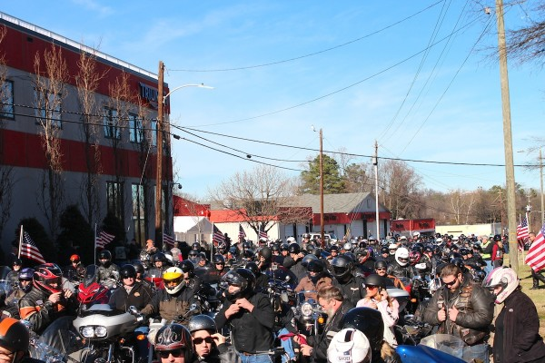 On December 20, 2015 in Raleigh, NC Bikers rode to celebrate the life of Hall-of-Fame drag racer Ray price.