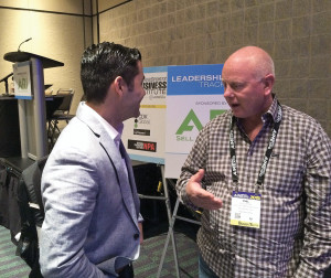 ƒCalifornia Motorsports Group CEO Phil Acton chats with Marc Hamud, senior VP at GE Capital Commercial  Distribution Finance, following a session at the Powersports Business Institute @ AIMExpo.