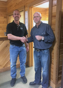 Robbie Cox (right), former owner of Cox's Northern Tier Harley-Davidson in Mansfield, Pa., recently sold the dealership to Pete Eisenhauer. The dealership has been renamed Eisenhauer's Tioga County Harley-Davidson.