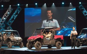 Mike Martinez, VP of Yamaha's ATV/SxS Group, introduces the Viking in front of a crowd of 2,200 at the MGM Grand Hotel & Casino in Las Vegas in mid-June.