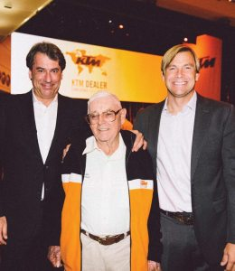 KTM CEO Stefan Pierer (left), Jack Penton, U.S. originator of the KTM brand, and Jon-Erik Burleson, president of KTM North America, celebrated the brand's 60th anniversary in Austria.