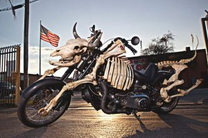 Billie Grace Lynn's Mad Cow motorcycle is designed to run on vegetable oil. Lynn toured the U.S. on the bike this summer to bring awareness to industrialized meat production and other environmental issues.