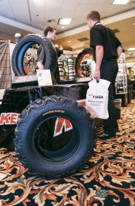 Kenda's Gus Niewenhous showed off the company's street, moto and ATV tires.