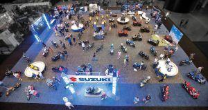 Suzuki's presence both in the expo hall and at the outdoor demo ride facility proved beneficial.