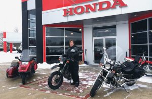 Kurt Hayden so far has made good on his attempt to ride a motorcycle — or ATV — to work every day for an entire year. He owns Hayden Honda in Kendallville, Ind.