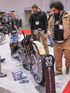Industry types crowded the Matt Hotch custom bike throughout V-Twin Expo to get a closer look at Vee Rubber's 32-inch front.