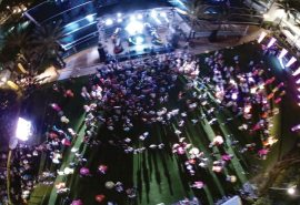 With deadmau5 performing, Sparks adorned the stage outside the oceanfront Fontainebleau Miami Beach.