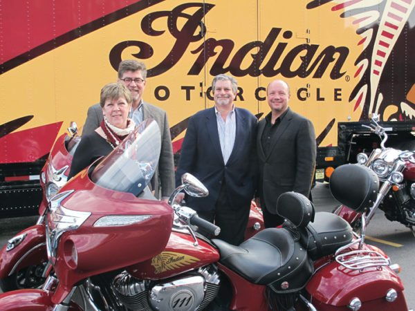 American Heritage Motorcycles, LLC owners (from left) Celia and Jeff Sinclair, Dan Finkelman and Rob McNish are joined in their latest venture by Terry Sullivan (not pictured). AHM has been approved by Polaris to open 15 Indian/Victory dealerships.