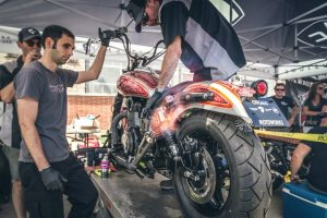 """The """"Calle Maton"""" Triumph Speedmaster is fired up by the staff from Motoworks. (Photo courtesy of Alex Hawn)"""
