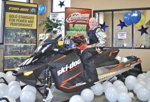Collin Wilcox is all smiles aboard his 2015 Ski-Doo Renegade 600 Sport.