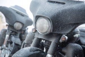 Snow- and ice-covered bikes unfortunately became a familiar sight for riders on the Harley-Davidson brick ride.