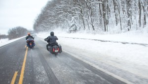 A late-March snowstorm hit the Midwest just as riders were taking off to deliver 74 bricks from Harley-Davidson's headquarters in Milwaukee to the new Rally Point plaza in Sturgis.