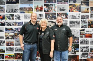 Myers-Duren Harley-Davidson owner Reba McClanahan and sons James (left) and Johnny (right) are celebrating the dealership's 100th anniversary in Tulsa, Okla.
