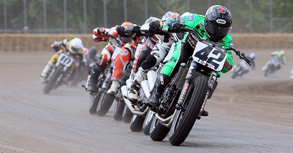 AMA Pro Flat Track racers compete handlebar-to-handlebar on production based American, European and Japanese motorcycles at speeds in excess of 130 mph.