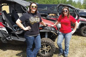 "ƒ The infamous ""before the mud"" picture. Kate, left, and Liz spent the day at High Lifter's Quadna Mud Nationals, demoing new ATVs and side-by-sides."