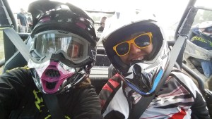  Liz, left, and Kate couldn't resist a selfie after a Polaris RZR 900 demo ride.