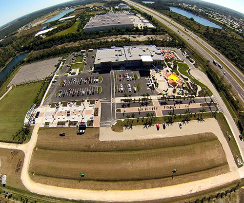 Aerial photo of Six Bends Harley-Davidson from fall 2014
