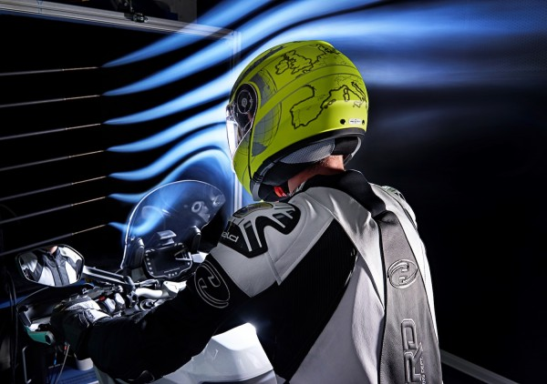 Schuberth engineers use the wind tunnel to help develop aerodynamic and aeroacoustic helmets.