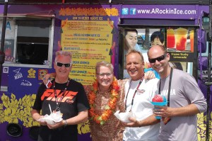A stop at the Rockin Ice Hawaiian Shave Ice truck was an ideal spot to cool down after a demo ride for West Virginia dealers Buster Jones Jr. of Bub's Cycle Center Inc. (Beckley), Eric Barrett of Lemon & Barrett's Powersports (Parkersburg) and Tim Dohm of Dohm's Cycles (Charleston). Truck owner Thom Uber joined them for the photo op. The Rockin Ice truck counts Justin Bieber and Sophia Vergara among its fans.