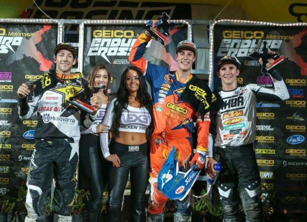 Webb (center), Haaker (left) and Robert (right) took the Everett EnduroCross podium. Photo: Drew Ruiz