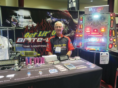 Kevin Bluhm, CEO of Bluhm Enterprises, promoted two of Brite-Lites' newest light kits at the 2015 Parts Unlimited/Drag Specialties National Vendor Presentation in Madison, Wis.