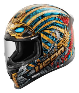 """ The Airframe Pro (in Pharaoh graphics shown here). MSRP for the solid models is $375; Construct or graphics models come in at $395-440, and the Ghost Carbon helmet is $600."