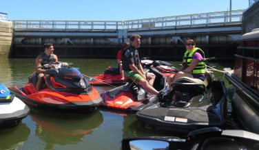 Passage through a lock on the Cumberland River was part of the Sea-Doo media launch in Nashville in mid-September. Here, members of the Sea-Doo team wait for the water in the lock to rise.