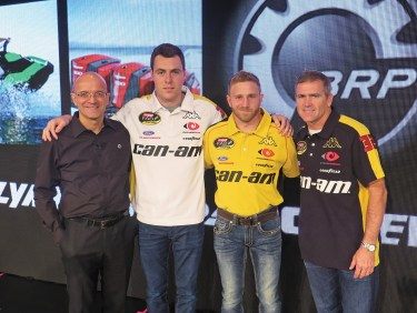 From the left, BRP CEO Jose Boisjoli and NASCAR drivers Alex Labbé, Jeffrey Earnhardt and Bobby Labonte.