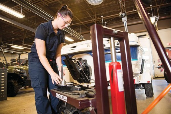 The SUNY Canton program involves the complete disassembly, inspection, repair and re-assembly of contemporary powersports sub-systems for motorcycles, ATVs and side-by-sides, personal watercraft, boat power plants and snowmobiles.