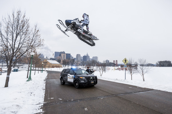 Levi LaVallee performs during filming for Red Bull Frozen City in downtown St. Paul, Minnesota, USA on January 25, 2016.