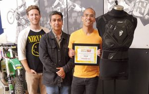 Thor's Sentry Vest, available from Parts Unlimited, was selected as a Powersports Business Nifty 50 winner earlier this year. (From left) Michael Tam, product designer and developer; Aaron Morales, senior designer; and Warren Davis, product designer, were part of the product's launch team.