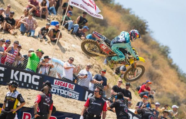 Heartbreak for Roczen in the first moto forced him to settle for second overall. Photo: Simon Cudby.