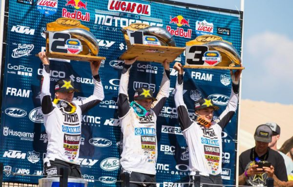 The Martin brothers (left, center) were joined by Webb (right) on the podium for the first 1-2-3 sweep for Star Yamaha. Photo: Simon Cudby.