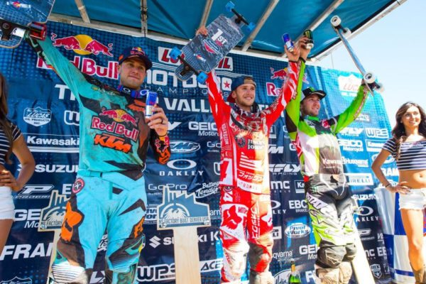Roczen (center), Dungey (left) and Tomac (right) have been on the overall podium in all three rounds thus far. Photo credit: Simon Cudby.