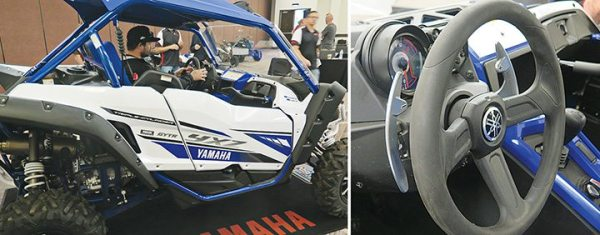 Left: Brad Howe, editor of ATV Rider magazine, hopped in the driver's seat of the 2017 Yamaha YXZ1000R during the media launch in South Carolina. Right: Paddle-shifting on the 2017 Yamaha YXZ1000R SS is expected to draw additional off-road customers who were not interested in learning to drive with the manual transmission that was part of the original YXZ.