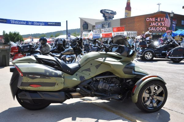 A custom, military-themed Can-Am Spyder F3-T presented to the Road Warrior Foundation by BRP in Sturgis.