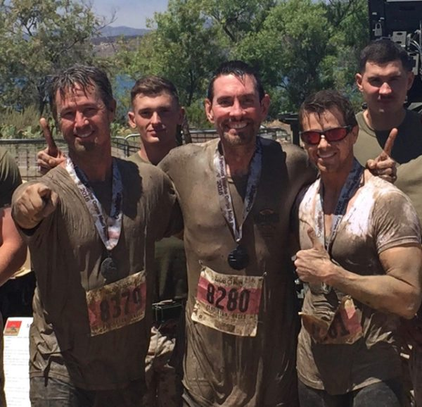 Chris McIntyre, Jeff Brown, and I with the U.S. Marines following the 2016 Camp Pendleton Mud Run.