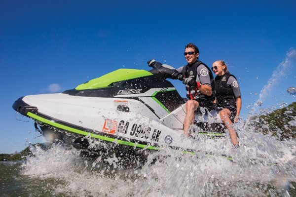 The 2017 WaveRunner EX Deluxe offers the RiDE system, as well as metallic paint and a two-tone cut and sew seat.