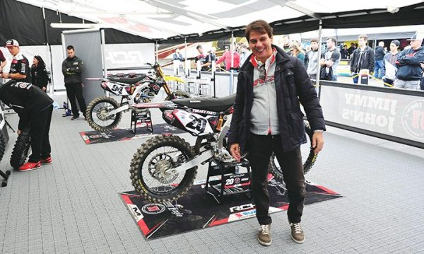 Marco Poloni, head of research and development for TCX Boots, is seen in the RCH/Soaring Eagle/Jimmy John's/Suzuki Factory Racing paddock.
