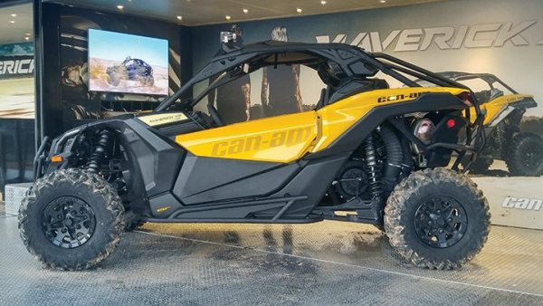 A Maverick X ds was on display in the outdoor demo area at Club BRP in Orlando.