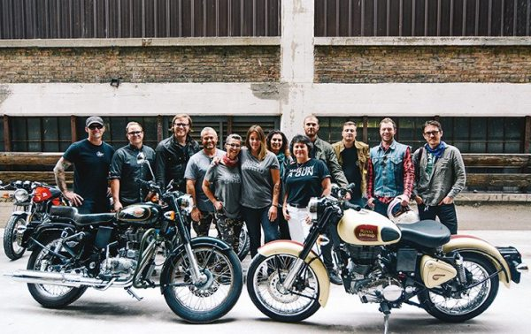 Royal Enfield North America brand ambassadors pose at the opening of the company's headquarters. The two-day event was held in conjunction with the grand opening of Royal Enfield of Milwaukee's flagship showroom on Sept. 10.