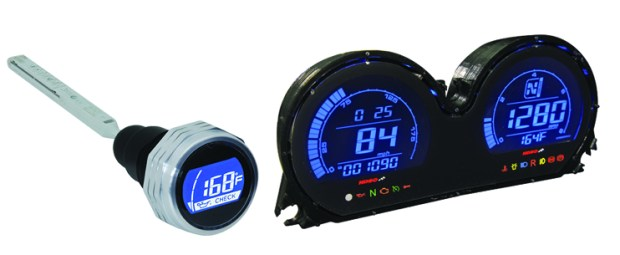 Left: The HD-05LT temperature and oil level dipstick is among the first products released in Koso's V-twin line. Right: Koso's HD-03 and HD-02 meters have reverse LCD technology, with a black background and blue or red digits.