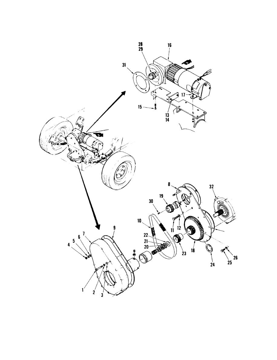 Figure 10-11. Traction Motor, Gear Drive, and Chain Drive