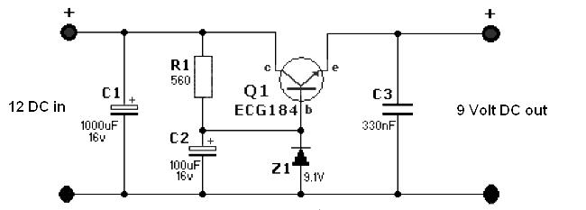 Simple 12 Volt to 9 Volt DCDC Converter  Power Supply