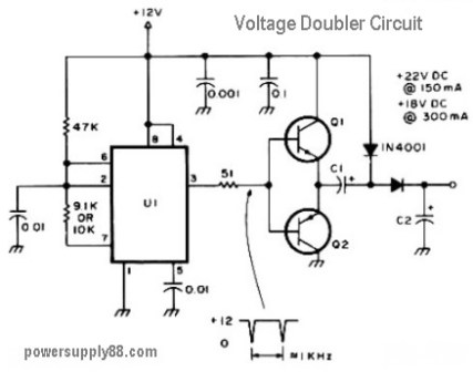 12V DC Voltage Doubler Circuit - Power Supply Circuits Dc Voltage Doubler Schematic on